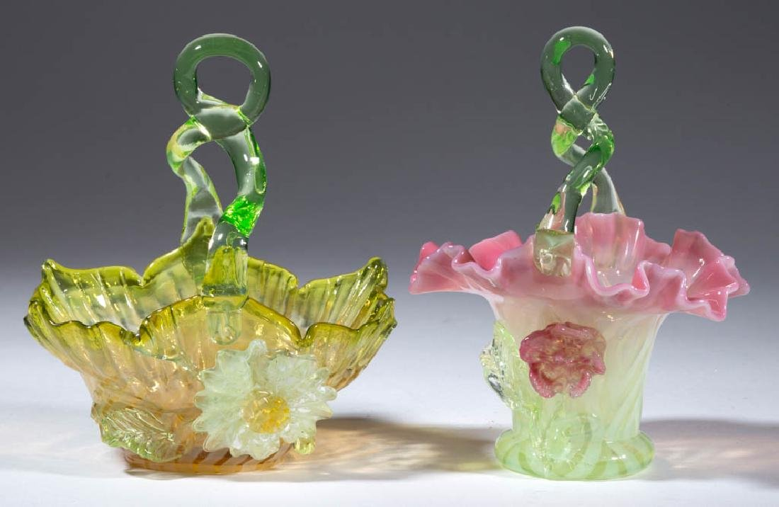 VICTORIAN APPLIED-DECORATION OPALESCENT GLASS BASKETS,