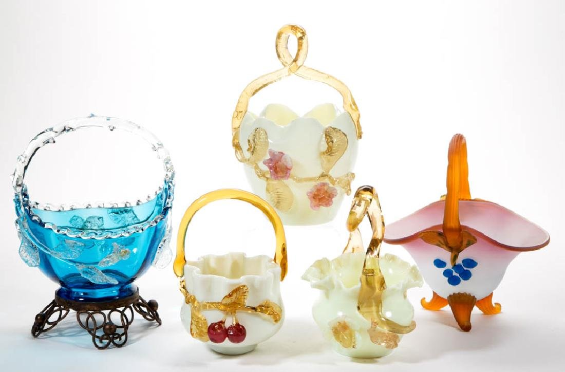 VICTORIAN CASED AND APPLIED-DECORATION GLASS BASKETS,