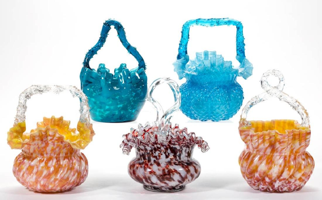 ASSORTED VICTORIAN SPATTER GLASS BASKETS, LOT OF FIVE
