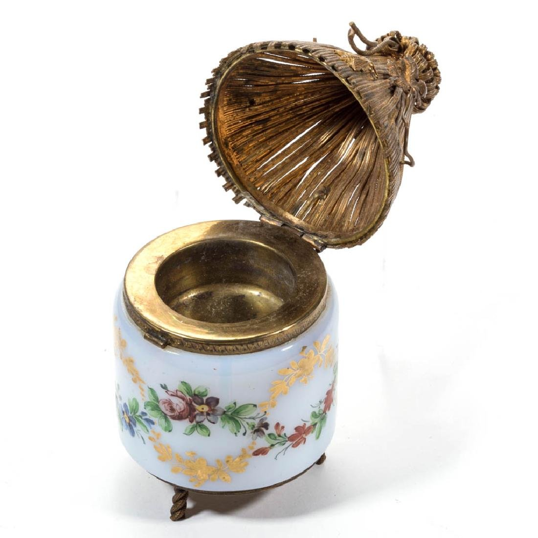 FRENCH OPALINE FIGURAL HUT INKWELL - 2