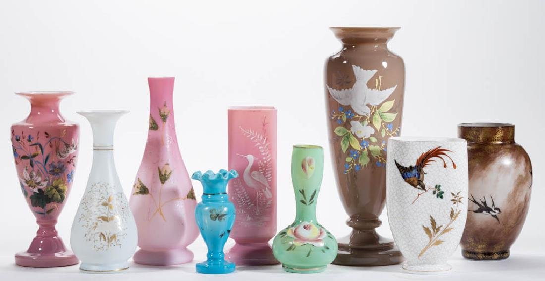 ASSORTED VICTORIAN ENAMEL-DECORATED VASES, LOT OF NINE