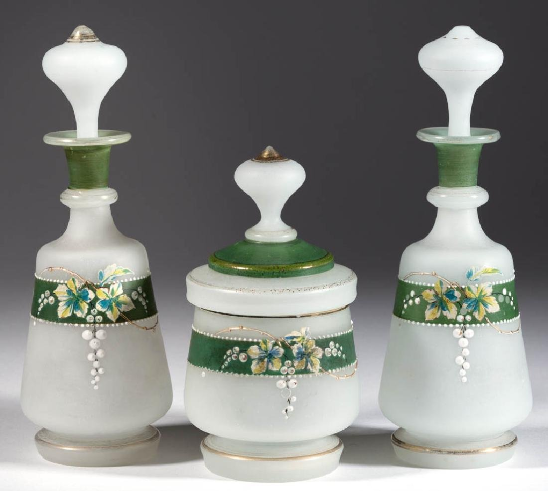 VICTORIAN FROSTED AND ENAMEL-DECORATED THREE-PIECE