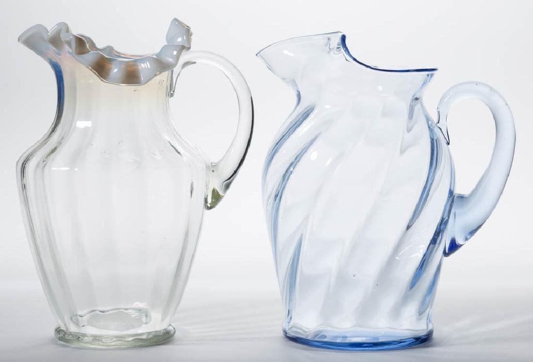ASSORTED BLOWN OPTIC GLASS WATER PITCHERS, LOT OF TWO