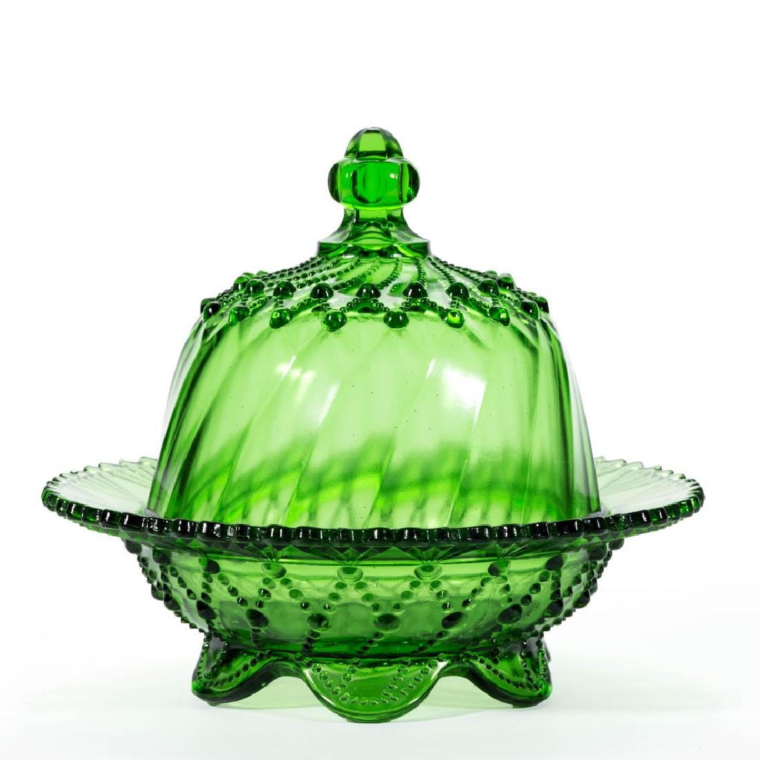 GREENTOWN NO. 350 / CORD DRAPERY COVERED BUTTER DISH