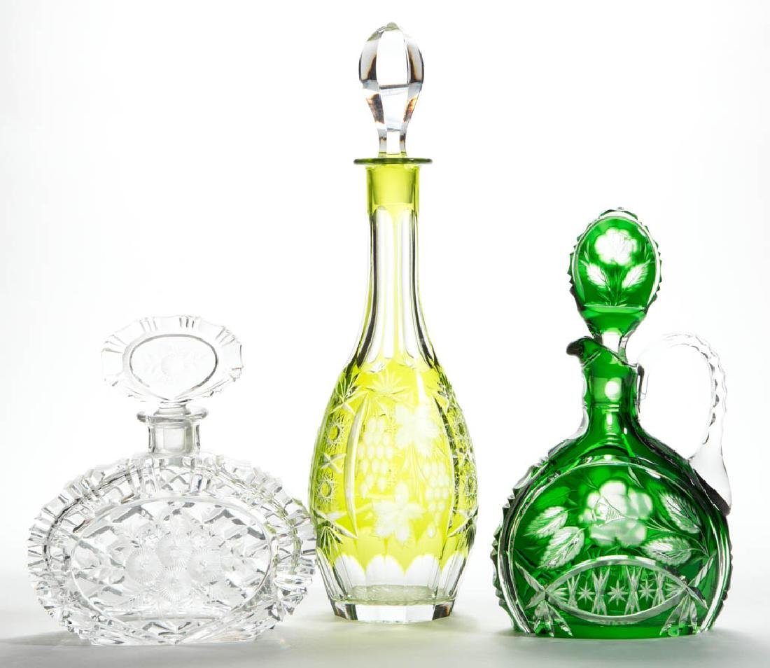 ASSORTED CUT GLASS DECANTERS, LOT OF THREE