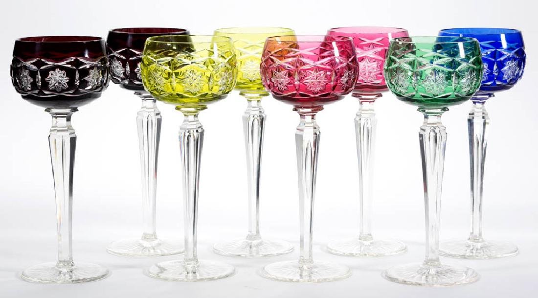 CUT OVERLAY GLASS WINES, LOT OF EIGHT