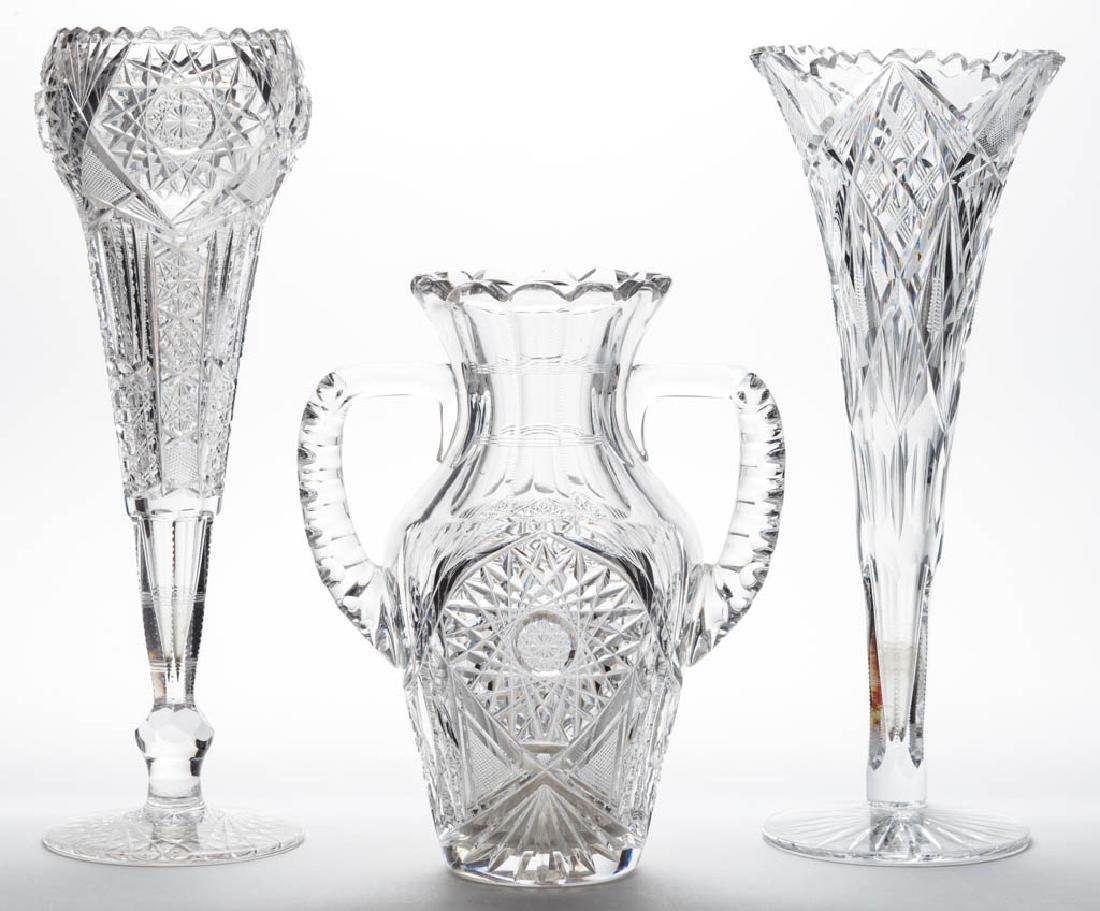 ASSORTED BRILLIANT CUT GLASS VASES, LOT OF THREE