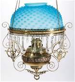 BRADLEY AND HUBBARD BRASS AND GLASS HANGING  LIBRARY