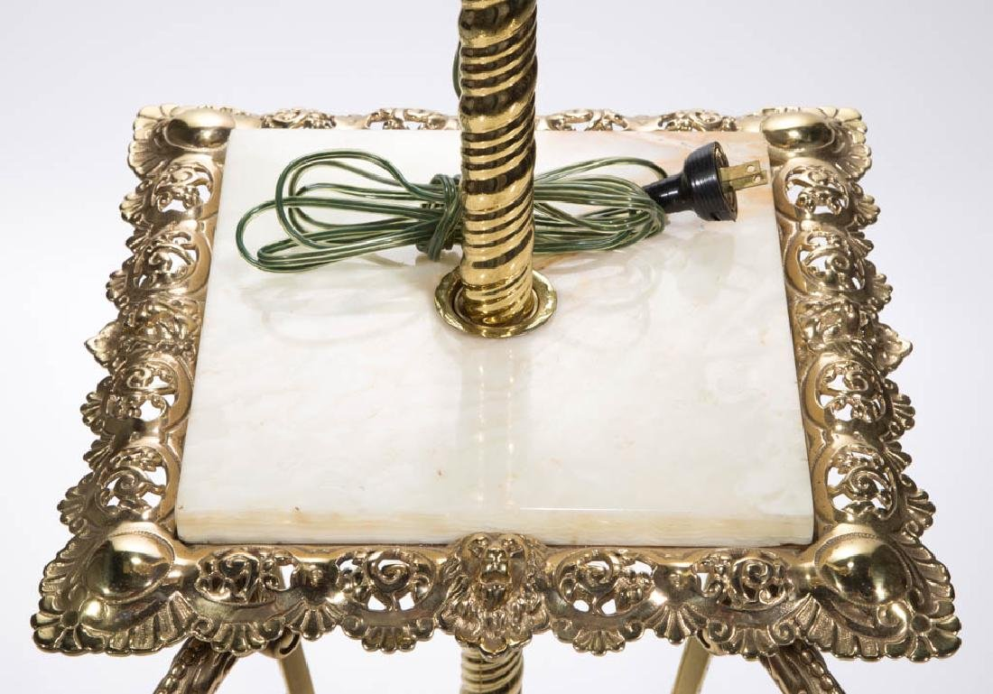 VICTORIAN BRASS AND MARBLE PIANO LAMP - 3