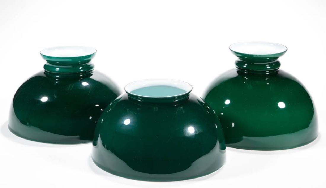 EMERALITE GLASS STUDENT LAMP SHADES, LOT OF THREE