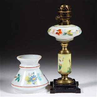 DECORATED OPAL GLASS MINIATURE COMPOSITE LAMP