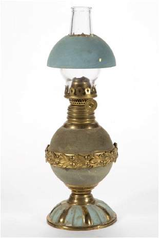 VICTORIAN DECORATED BRASS MINIATURE STAND LAMP