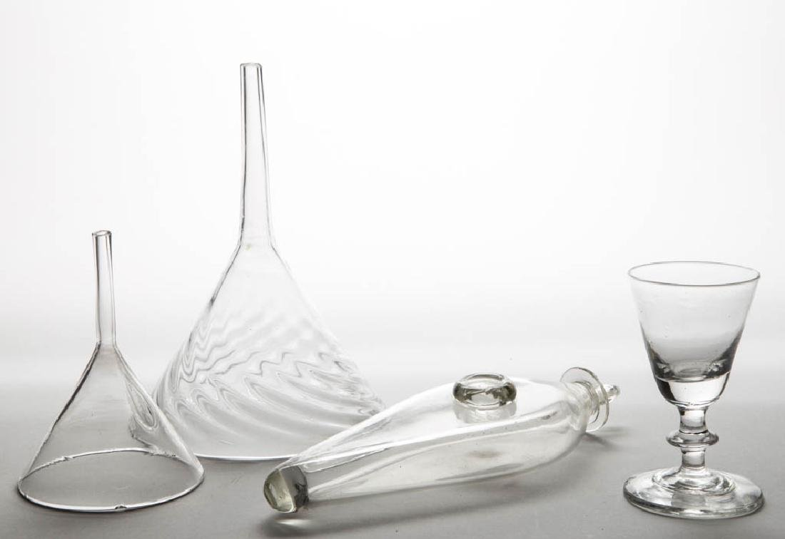 ASSORTED FREE-BLOWN GLASS ARTICLES, LOT OF FOUR