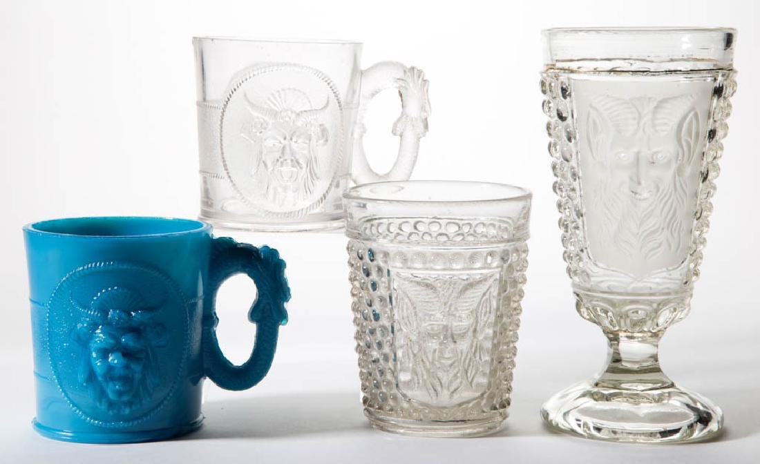 ASSORTED MEPHISTOPHELES PRESSED GLASS DRINKING