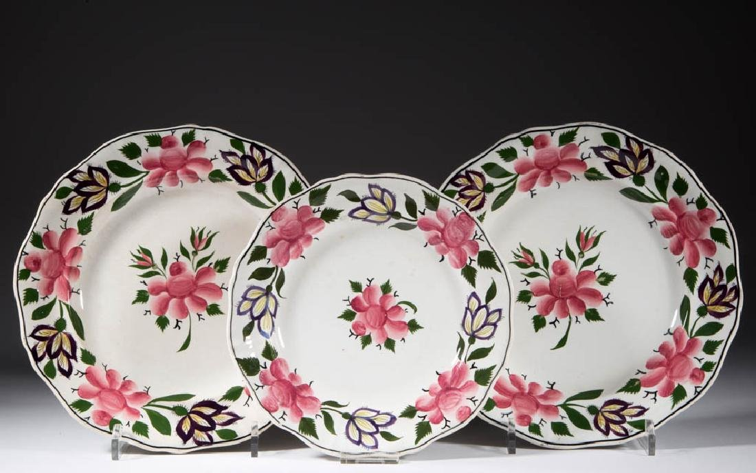 ENGLISH CERAMIC PLATES, LOT OF THREE