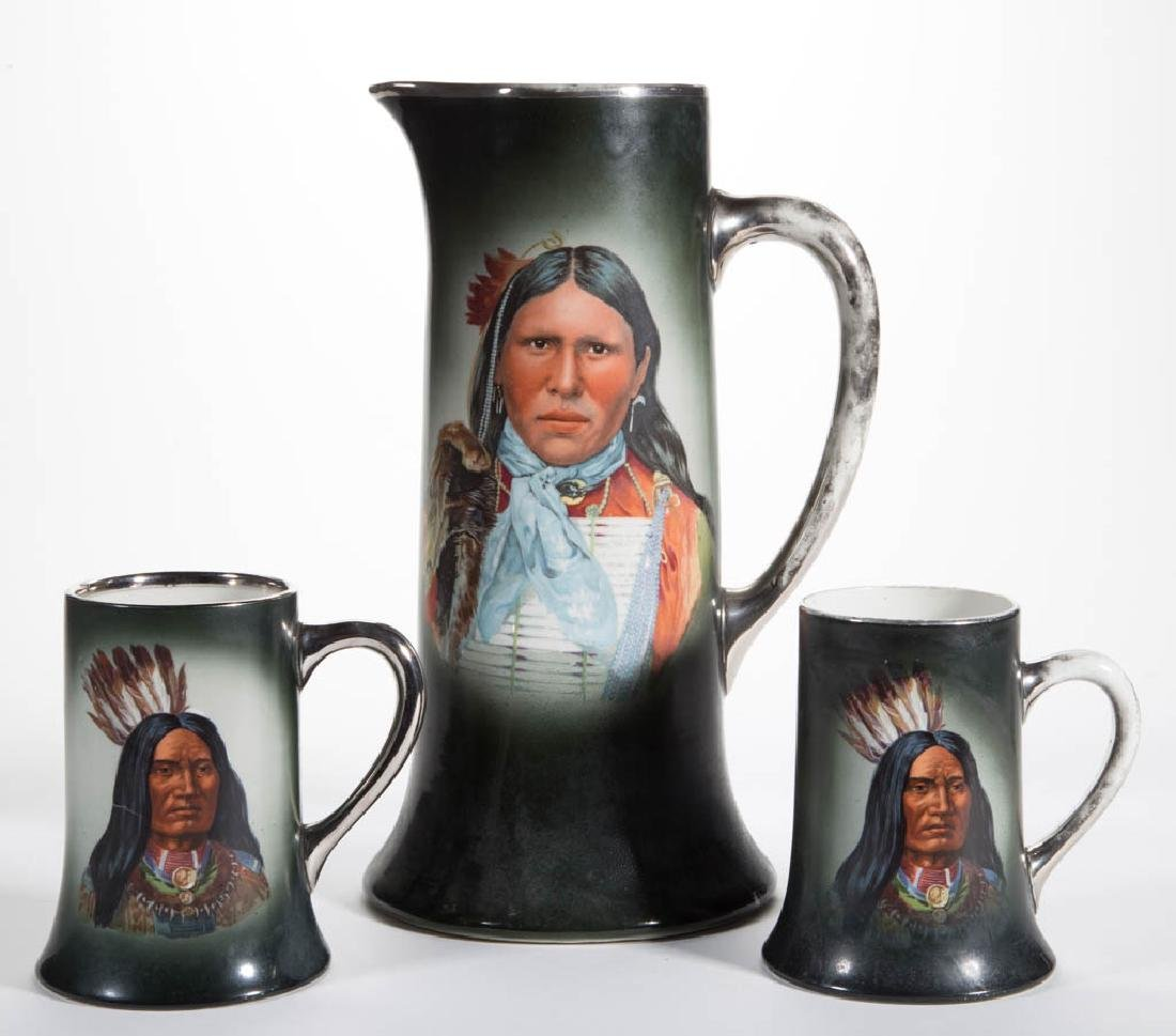 AMERICAN NATIVE AMERICAN DECORATED CERAMIC PITCHER AND