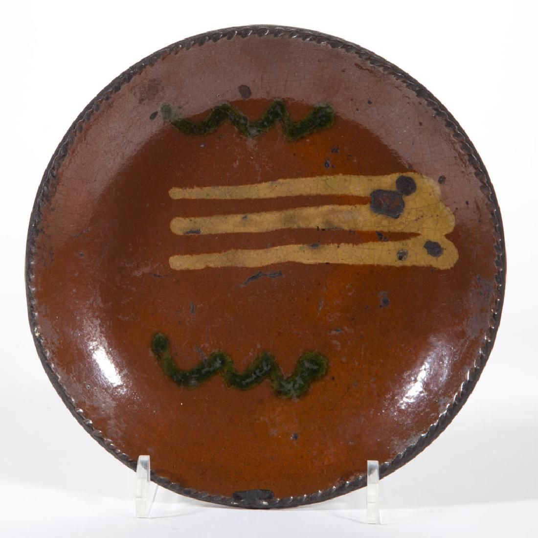 PENNSYLVANIA DECORATED EARTHENWARE / REDWARE PLATE