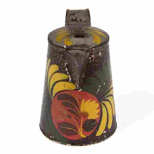 PENNSYLVANIA PAINT-DECORATED TOLE SYRUP PITCHER