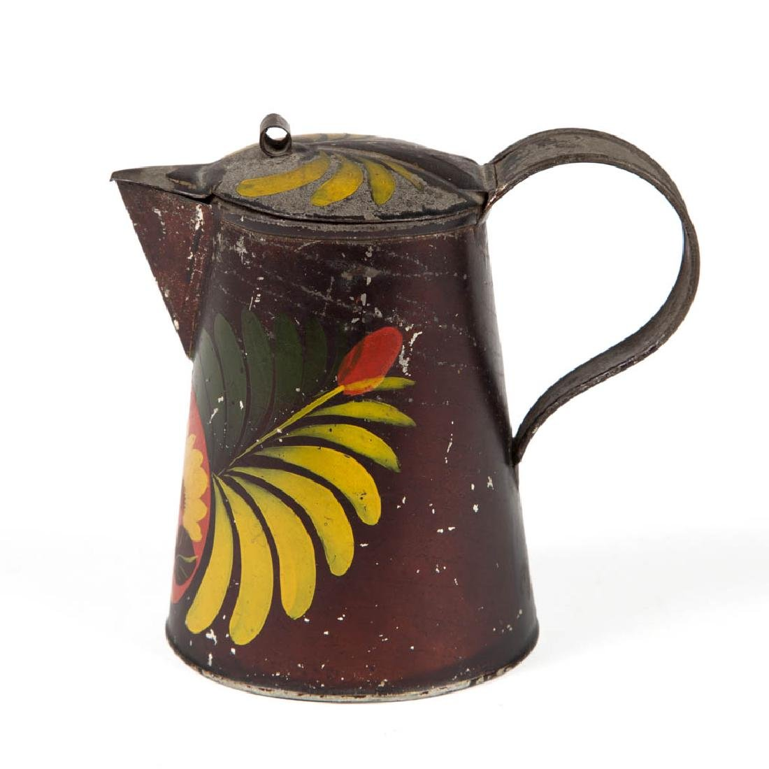 PENNSYLVANIA PAINT-DECORATED TOLE SYRUP PITCHER - 2