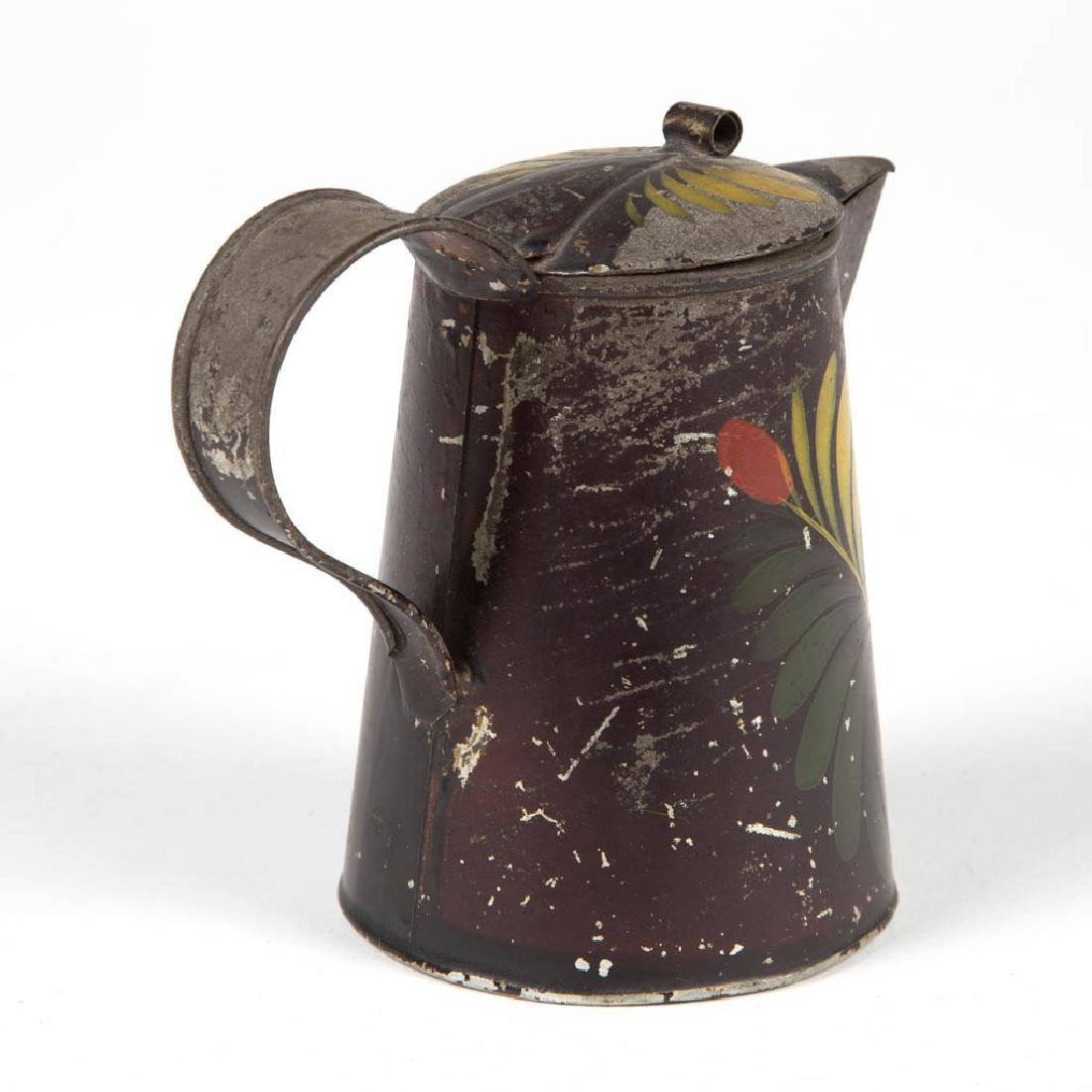 PENNSYLVANIA PAINT-DECORATED TOLE SYRUP PITCHER - 3