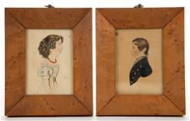 PAIR OF AMERICAN SCHOOL (19TH CENTURY) FOLK ART
