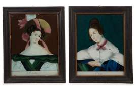REVERSE-PAINTED FOLK ART PORTRAITS, LOT OF TWO