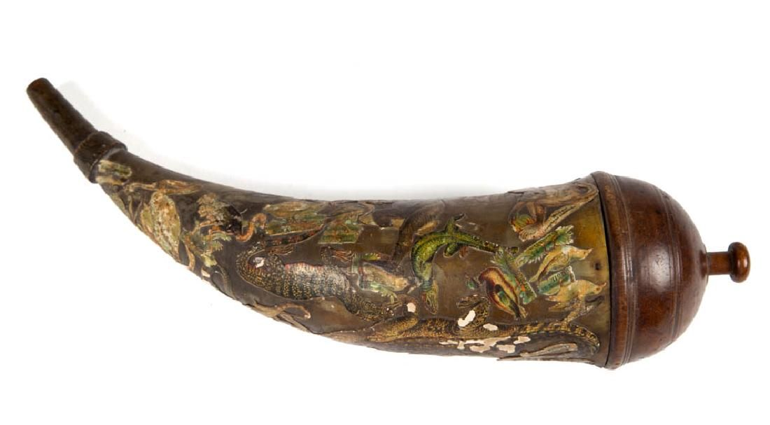 AMERICAN DECOUPAGE-DECORATED POWDER HORN