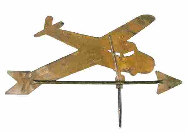 FOLK ART CUT-OUT SHEET-IRON AIRPLANE WEATHERVANE