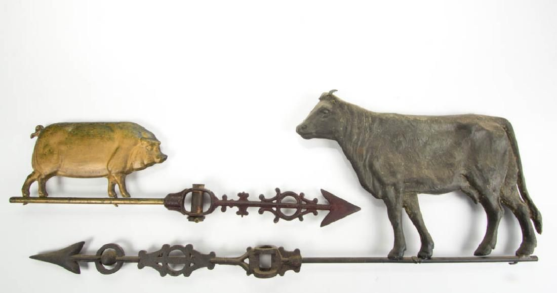 FOLK ART CAST-METAL COW WEATHERVANE