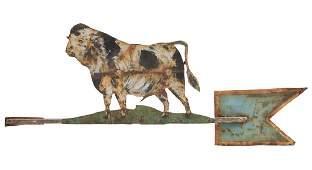 FOLK ART CUT-OUT SHEET-METAL BULL WEATHERVANE