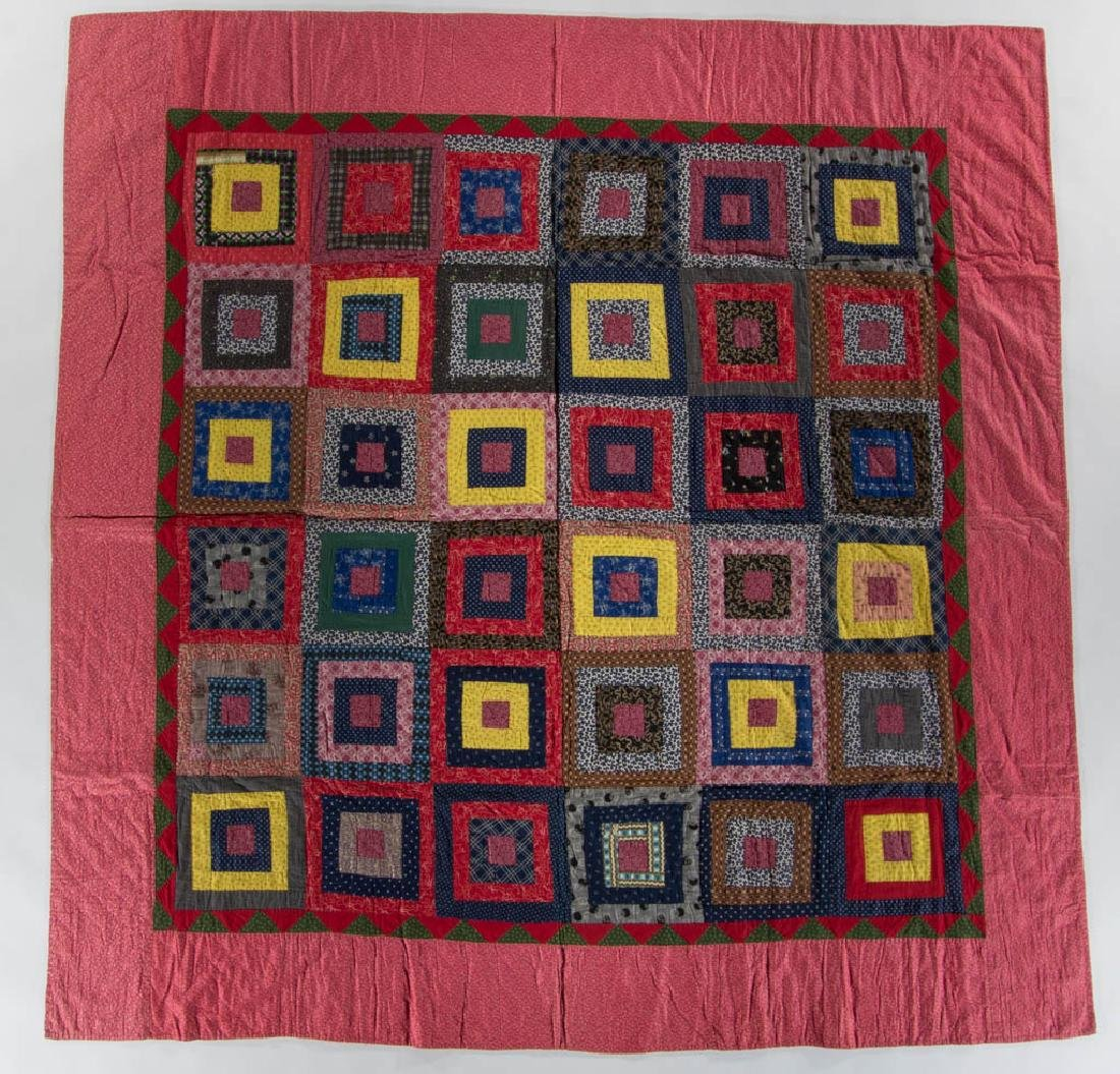 PENNSYLVANIA LOG CABIN PIECED QUILT