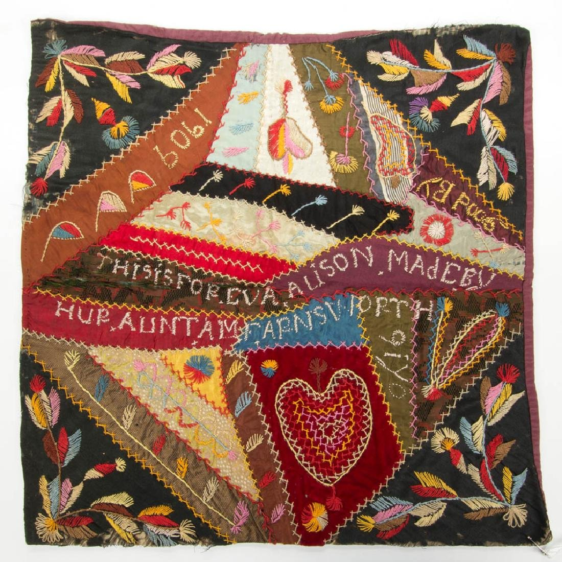 PENNSYLVANIA EMBROIDERED CRAZY QUILT PILLOW CASE