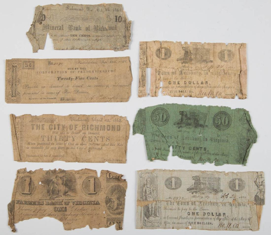 VIRGINIA CIVIL WAR OBSOLETE CURRENCY / BANK NOTES, LOT