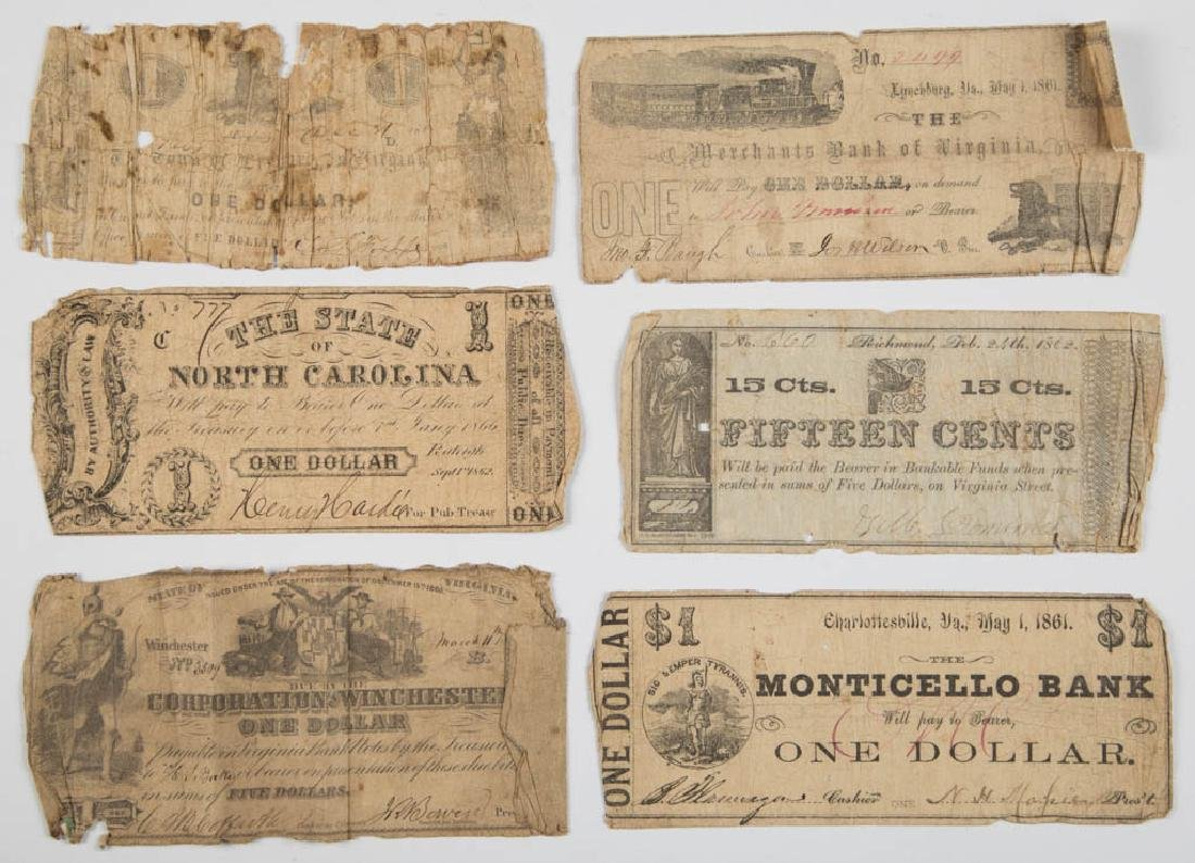 VIRGINIA CIVIL WAR OBSOLETE CURRENCY / BANK NOTES, LOT - 3