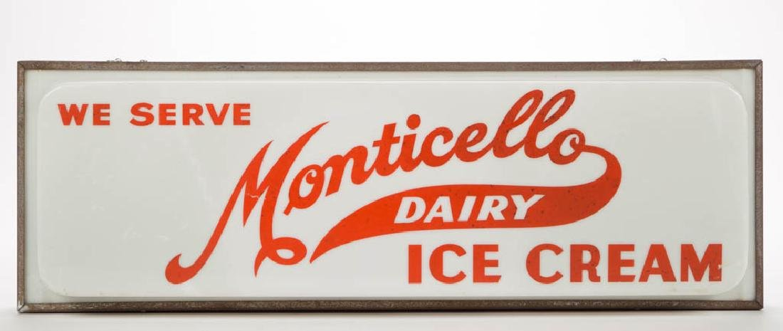 MONTICELLO DAIRY ADVERTISING LIGHTED SIGN