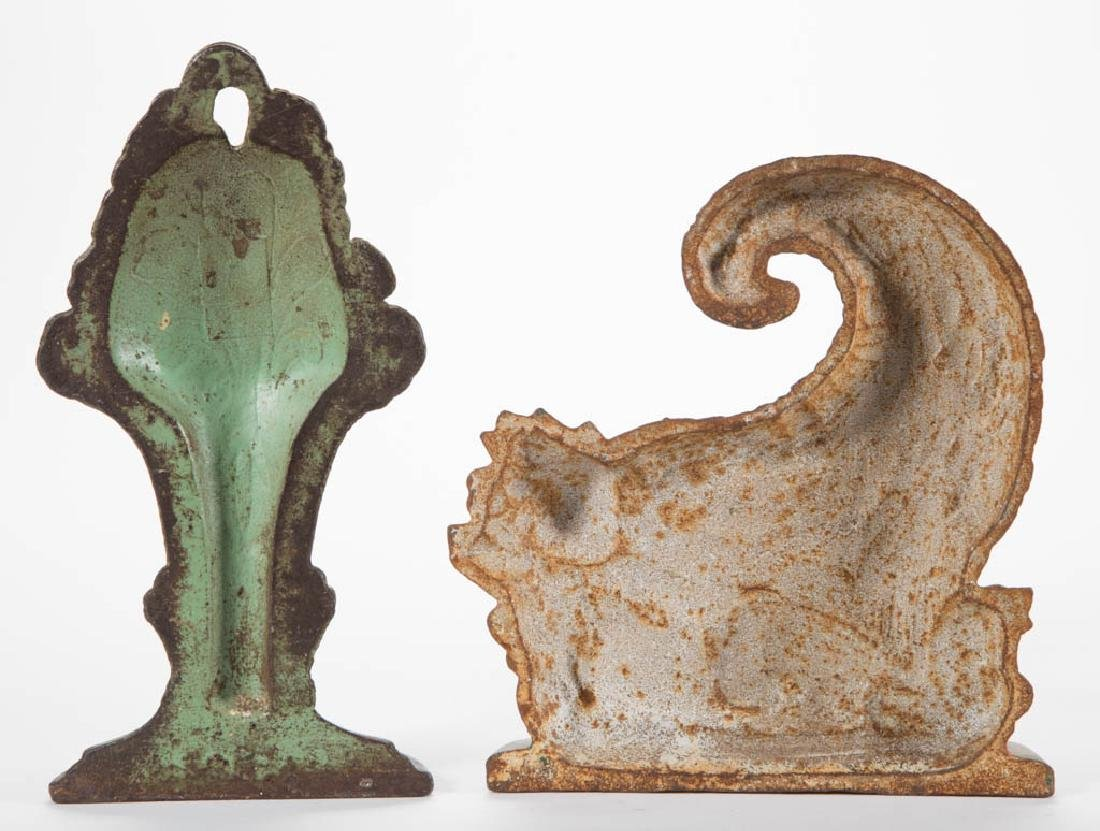CAST-IRON FLORAL DOORSTOPS, LOT OF TWO - 2