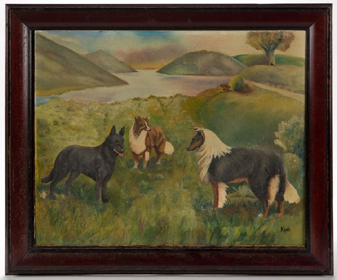 AMERICAN SCHOOL (20TH CENTURY) PAINTING OF DOGS IN A