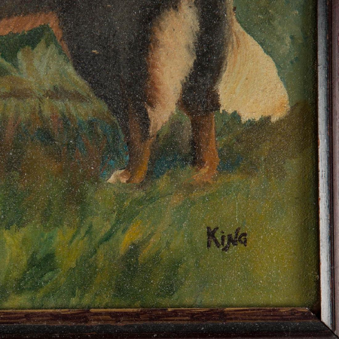 AMERICAN SCHOOL (20TH CENTURY) PAINTING OF DOGS IN A - 2