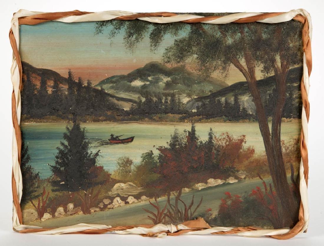 AMERICAN SCHOOL (20TH CENTURY) FOLK ART LANDSCAPE - 2