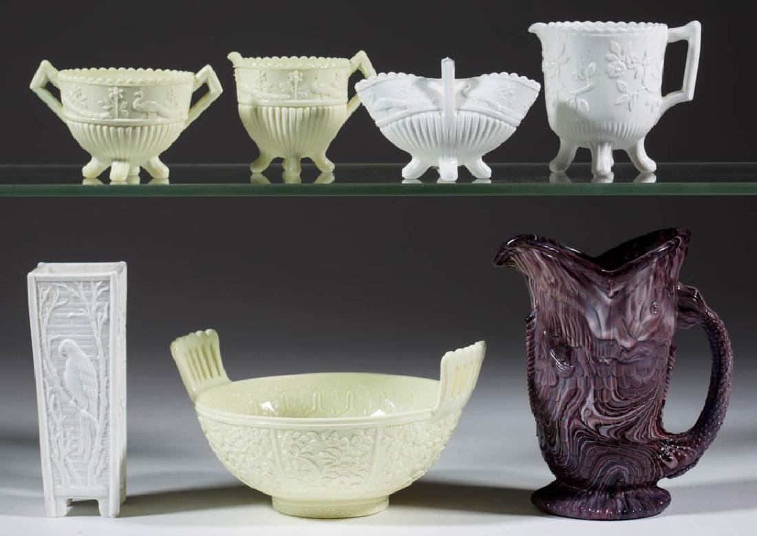 ASSORTED ENGLISH VITRO-PORCELAIN GLASS ARTICLES, LOT OF