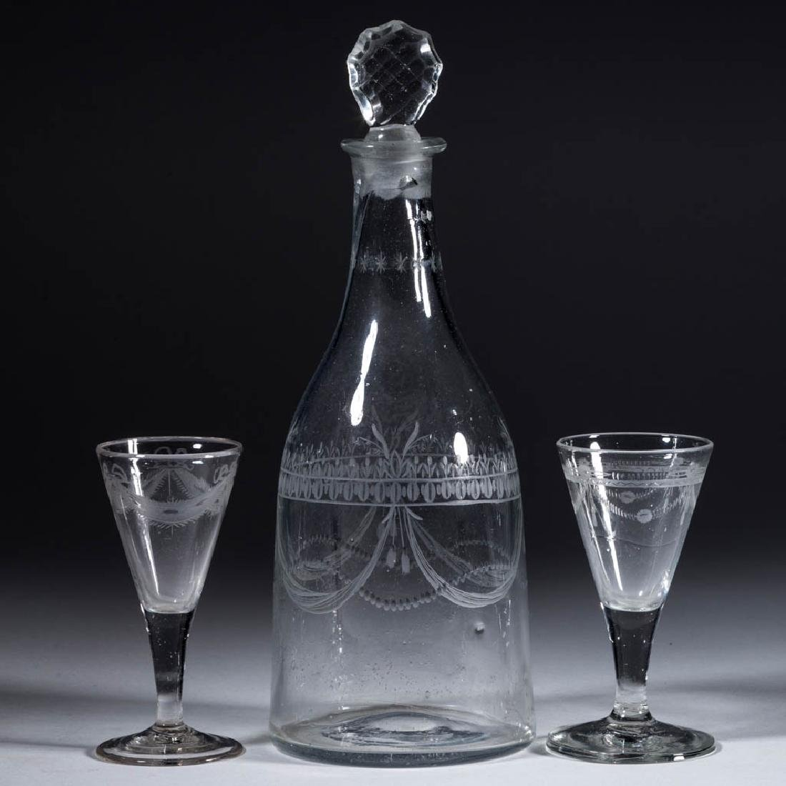 ASSORTED FREE-BLOWN AND ENGRAVED DRINKING ARTICLES, LOT
