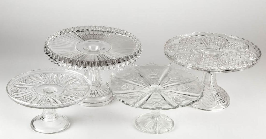 ASSORTED EAPG SALVERS / CAKE STANDS, LOT OF FOUR