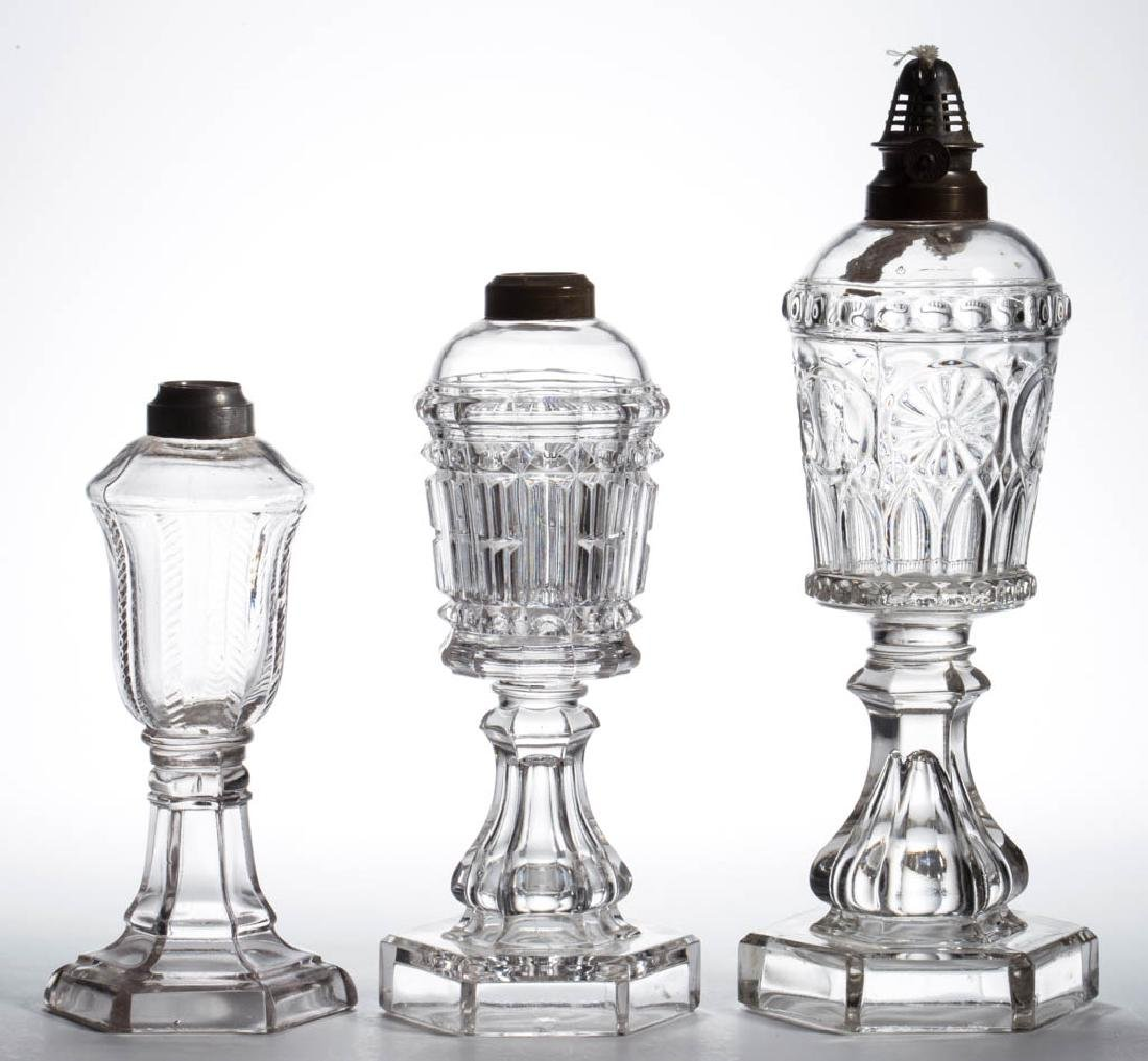 ASSORTED PRESSED AND BLOWN-MOLDED KEROSENE STAND LAMPS,