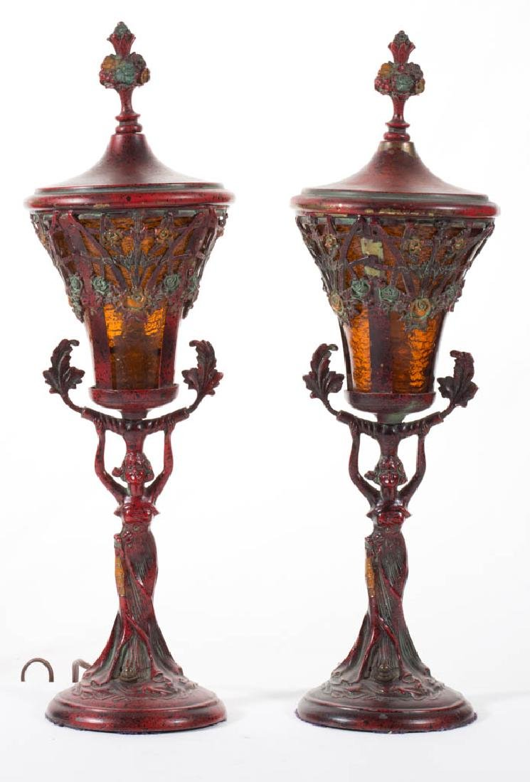 METAL AND GLASS PAIR OF LAMPS