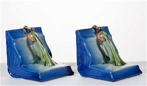 ROSEVILLE BLUE PINE CONE ART POTTERY PAIR OF BOOKENDS