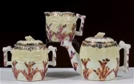 ETRUSCAN SHELL AND SEAWEED MAJOLICA CERAMIC TEA SET,
