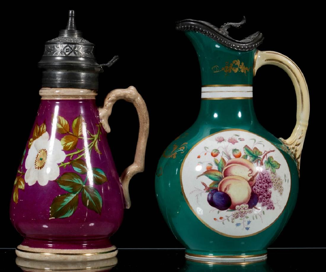 AMERICAN AND ENGLISH CERAMIC SYRUP JUGS LOT OF TWO