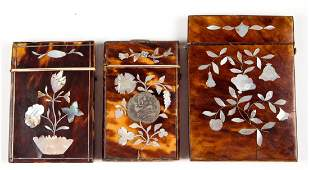 EUROPEAN SHELL CARD CASES, LOT OF THREE