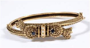 VICTORIANSTYLE 14K YELLOW GOLD AND SAPPHIRE BRACELET
