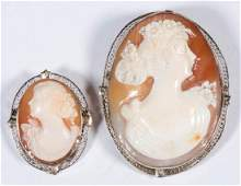 VINTAGE 14K WHITE GOLD CAMEO BROOCHES / PENDANTS, LOT